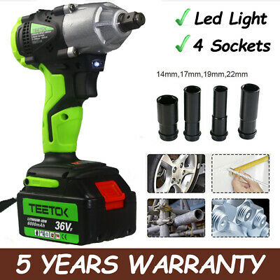 Heavy Duty 21V Electric Cordless Impact Wrench Driver Nut Gun 4 Sockets Led Case
