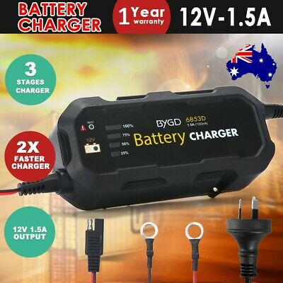 Battery Charger Maintainer 12V 1.5A AGM SLA Deep Cycle Car Truck Motorbike Boat