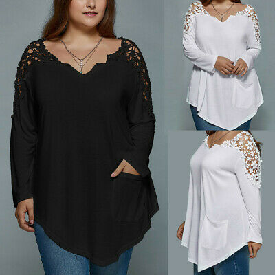 Plus Size Fashion Summer Lady Lace Womens Long Sleeve T-shirt Casual Top Blouse