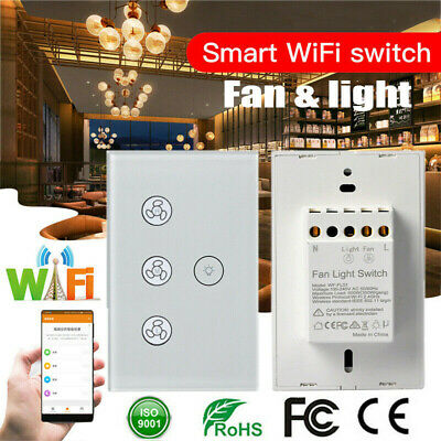 Wifi Smart Ceiling Fan Controller Wall Switch Touch Panel For Alexa Google Home