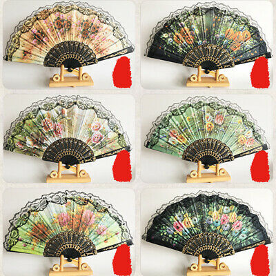 Chinese Spanish Fans Dance Wedding Hand Held Folding Lace Flower Fan Party Gift