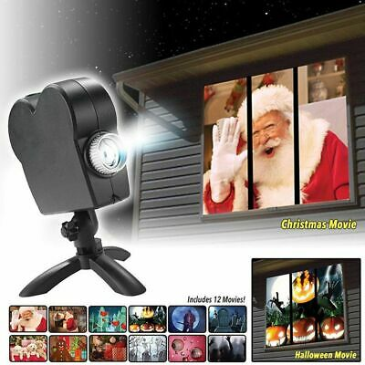3D Christmas LED Light Lamp Illusion Hologram on Wall Projector Lazer Laser Gift