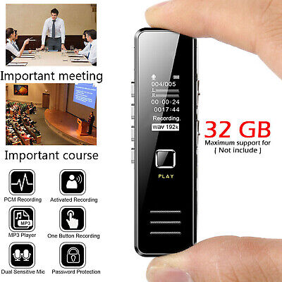 32GB Rechargeable Digital Audio/Sound/Voice Recorder Dictaphone MP3 Player USB