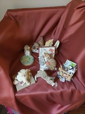 Country Artists 7 cat's figures , excellent condition Hand painted/Hand Crafted