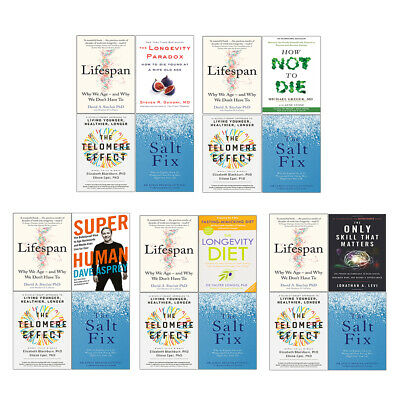 Lifespan, How Not To Die, Super Human, Longevity Diet Collection Books Set New
