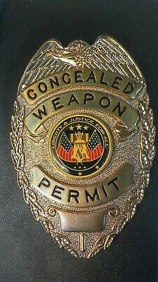 Concealed Weapon Permit Badge with Leather Holder