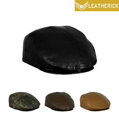 Mens Leather Ivy Flat Cap Beret Baker Boy Newsboy Gatsby Driver Cabbie Golf Hat