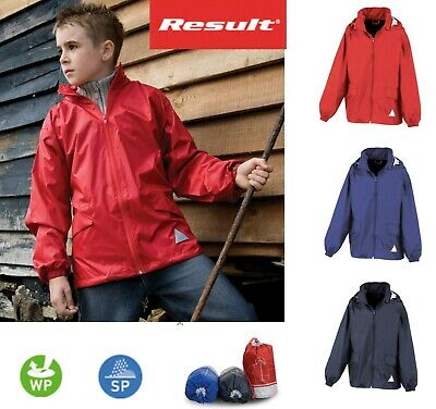 KIDS Boys Girls  Packaway Windcheater Showerproof Jacket in Bag - Red Blue Navy