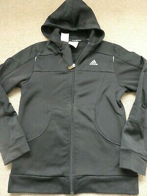 Boys Black Adidas Hooded Zip Up Jacket Size 32/34 Approx 14 Years