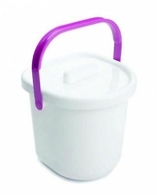 Neat Nursery Company NAPPY PAIL AND LID - WHITE/PINK Baby Changing