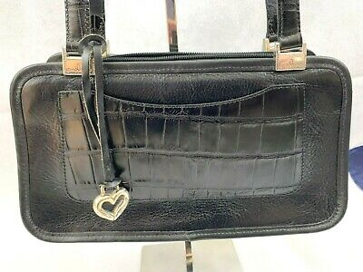 Brighton Black Leather Handbag Embossed Croc Trim Zippered Top Plaid Interior