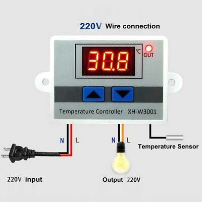 1* Digital LED 10A Thermostat Controller Switch Probe Large LCD Display 12V 220v