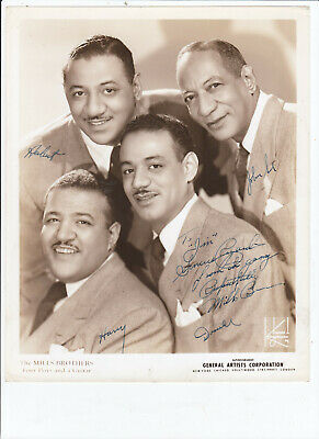 Mills Brothers SIGNED AUTOGRAPHED 8x10 glossy photo by 4 members RARE