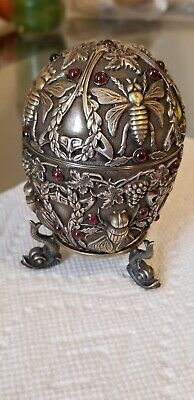 Pavel Ovchinnikov Silver Russian Easter Egg. decorated w/ picture of bees
