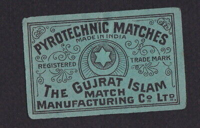 AE Old Matchbox label India  UUUUU5 Pyrotechnic Matches Star