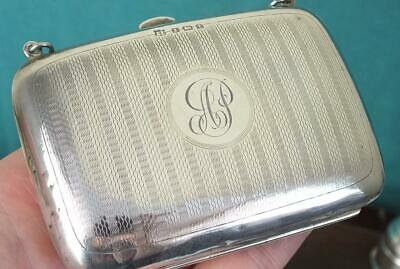 89g Large Antique Solid Silver Engraved Purse / Clutch Bag - Bham 1918 - BPDC