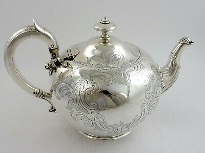 HUNT & ROSKELL stunning Victorian SILVER TEAPOT, London 1850 by ISH 793g ANTIQUE