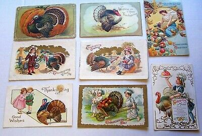 Vintage Postcard Lot 8 Thanksgiving Postcards,All Early 1900's  TH 8