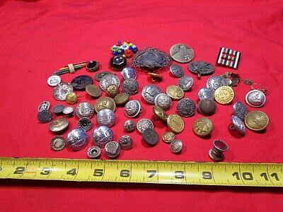 Vintage Lot of 34 Buttons Metal Sewing Buttons & MORE  MILITARY POLICE FIRE