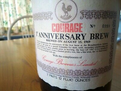 Courage 1ST Anniversary brewed on August the 15th ,1969 number 0998,Never opened