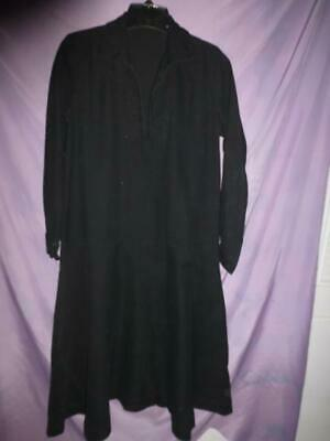 Vtg 1920s 30s Art Deco woven fabric black maid witch or mourning Dress halloween