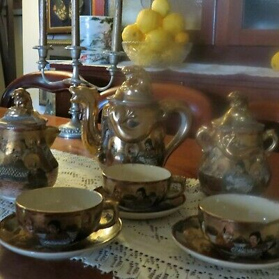 Antique Satsuma. Dragon. Gold Gilded, Hand Paintedtea Set