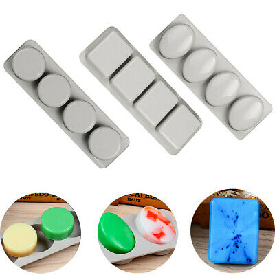 DIY 4 Grid Silicone Soap Molds Handmade Soap Easy to Demould Making Moulds Tools