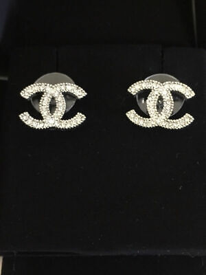 Preowned Authentic CHANEL CC Silver Tone Crystal Earrings Studs