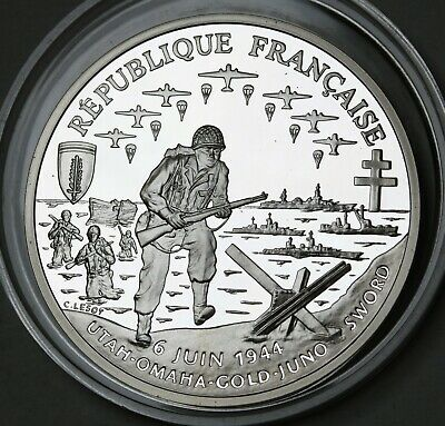 1993 France 1 Franc Normandy Invasion 90% Silver Proof GEM FDC Coin KM# 1014