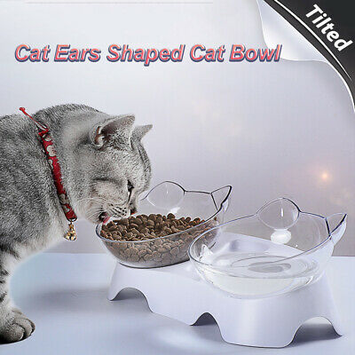 Cat Ears Shaped Tilted Transparent Cat Bowl With Holder Cat Food Dish Pet Feeder