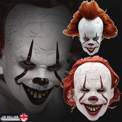 Pennywise Mask Stephen King's It Chapter Two 2 Cosplay Scary Joker Prop UK