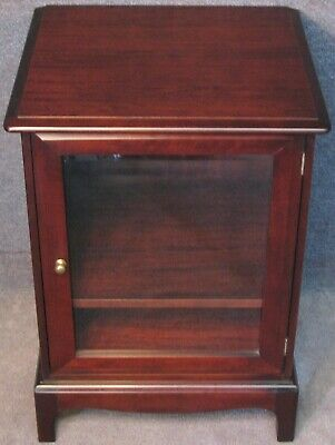 Stag Minstrel Mahogany Hi Fi Cabinet With Glazed Door And Lift Up Top