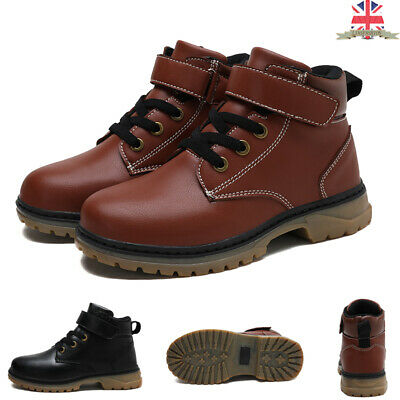 UK Kids Boys Girl Winter Warm Lace-Up Faux Leather Ankle Boots Martin Shoes Size