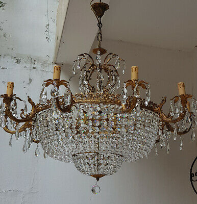 Antique Vintage Brass & Crystals GIANT French Chandelier Lighting Ceiling Lamp