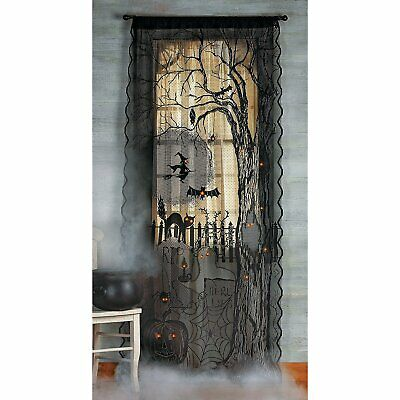 """Halloween NEW Haunted House Decor 40""""x7"""" Spooky Lighted Lace Curtain Panel 2019"""