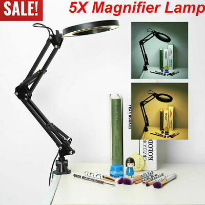 5x Desk Magnifying Lamp With Clamp Craft Glass Loupe Lab Work Light Magnifier