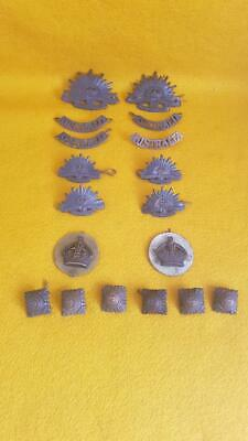 "18 WWI & WWII Era Australian Military ""Bronze"" Insignia Badges"
