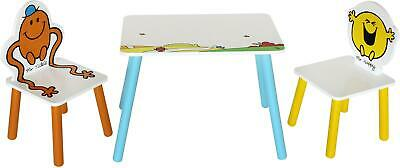 Kiddi Style MR MEN TABLE WITH TWO CHAIRS Toddler Child Wooden Furniture BN