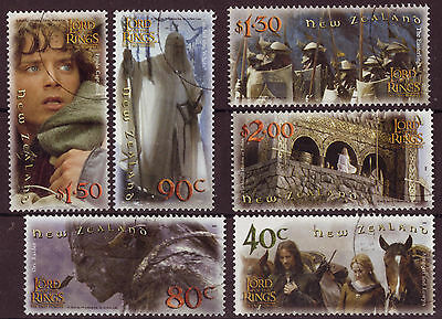 """New Zealand 2002 Lord Of The Rings """"The Twin Towers"""" Set Of 6 Fine Used"""