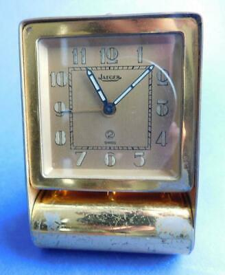 Quality Swiss Jaeger LeCoultre Folding Art Deco Travelling Alarm Clock 1940s