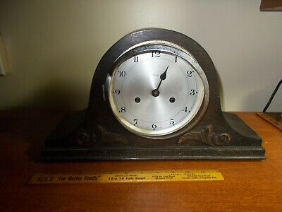 1930's ENFIELD 8 DAY ART DECO  TAMBOUR TIME/STRIKE MANTEL CLOCK, PARTS/PROJECT