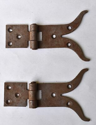 A pair of antique style rusty iron hinges box hinge trunk chest door H11