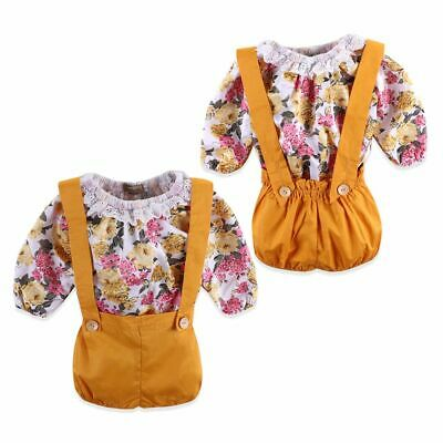 Baby Toddler Outfits Strap Short Baby Girls Clothes Bodysuit Floral Tops Romper
