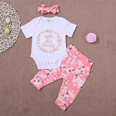 Short Sleeve Letters Jumpsuit Romper Bow Headband Floral Pants Baby Outfits Set
