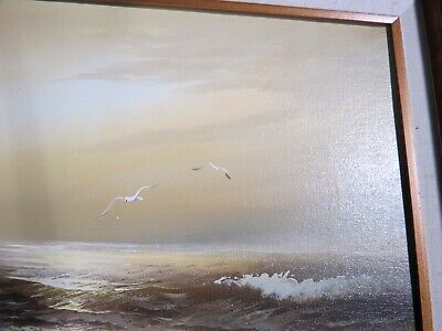 H Gailey Signed Seascape Oil On Canvas Painting  Framed, Nautical Art