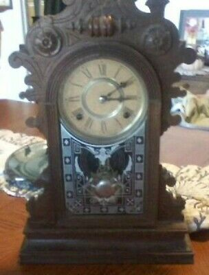 ANTIQUE WATERBURY MANTLE CLOCK, 8 DAY SPRING STRIKE with Key.  Works fine.