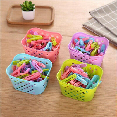 Plastic Strong Grip Clothes Washing Line Airer Drying Dry Garden Clips Pegs LE