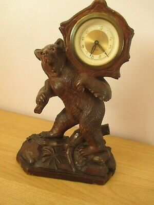 Large Black Forest Hiking Bear Mantel Clock Wood Carving Swiss