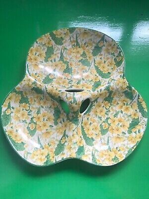 Crown Ducal triple section serving dish with yellow flower pattern