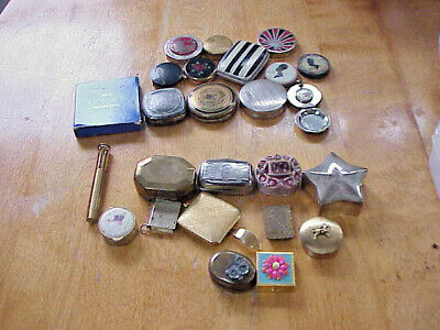Lot of Vintage Make-Up Compacts Lipstick Case Pill Boxes Stamp Holder